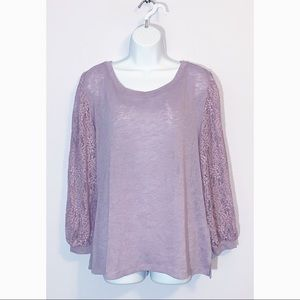 SOHO NY&Co Purple Lace Sleeve Blouse